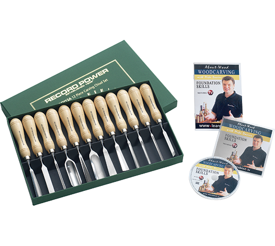 RPCV12A 12 Piece Carving Chisel Set, Educational Booklet & DVD